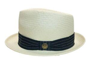 Goorin Bros Straw Fedora Hat; Small #100-2064 Natural White, Black Grosgrain USA