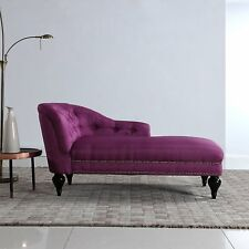 Modern Tufted Chaise Lounge for Living Room or Bedroom, Victorian Chair Rose Red