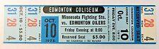 WHA 1975 MINNESOTA FIGHTING SAINTS at EDMONTON OILERS unused MINT hockey ticket