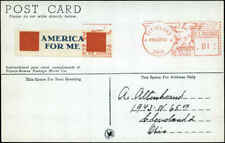 """1945 WW2 Patriotic Label Red """"AMERICA FOR ME"""" Tied to MAILOMAT Card"""