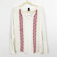 NEW Gap White Ivory Embroidered Top Blouse Size XS Long Sleeves V neck Sheer