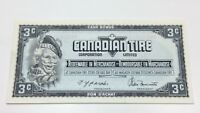 1991 Canadian Tire 3 Three Cents CTC-S12-A Uncirculated Money Banknote E048