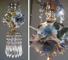 Blue Flower leaf chandelier SWAG vintage lamp Porcelain Capodimonte Beaded Brass
