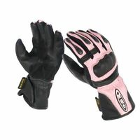 LADIES  MOTORBIKE MOTORCYCLE SCOOTER LEATHER RACING GLOVES PINK #