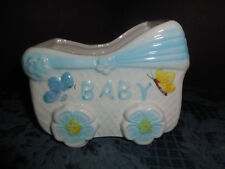 VINTAGE PLANTER CERAMIC  BABY CARRIAGE