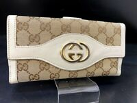 Auth GUCCI Guccissima GG Interlocking Canvas Leather Long wallet Purse Y-1479