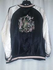 NEW WOMENS PLUS SIZE 2X FLORAL EMBROIDERED BOMBER SILKY LIGHT WEIGHT JACKET COAT