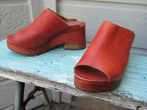 Free People Open Peep Toe Platform Heel Clog EU 37 US 7 Orangish-Brown Leather