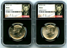 2018 P & D KENNEDY NGC MS66 HALF DOLLAR MATCHING 2 COIN SET BLACK CORE SIGNATURE