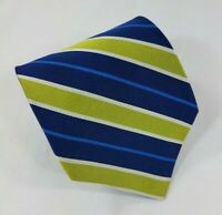 Jos A. Bank Silk Tie Lime Green Blue Diagonal Stripes Made in Italy