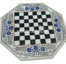 2' White Marble Coffee Chess Table Top Lapis Luzuli Inlay Christmas Gifts H985