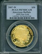 2007-W $50 PROOF 1 Oz. GOLD BUFFALO PCGS PR70 PF70 PR70DCAM