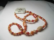 "AAI signed Shades of Orange Beaded Neckalce, 24"", new with tags"
