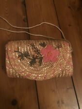 Straw Embroidered Bag Floral Clutch Or Crossbody