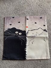 Cat Cartoon Cushion Cover Brand New Linen Cotton Blend