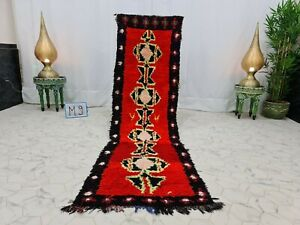 """Vintage Moroccan Handmade Rug 2'3""""x8'1"""" Berber Abstract Red Black Cotton Carpet"""