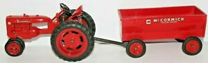 """Vintage McCormick Farmall """"Super C"""" Tractor & Trailer Toy Model Collectible Set"""
