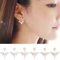 1Pair Fashion Women Crystal Rhinestone Ear Stud Flower Bride Earrings Jewelry UP