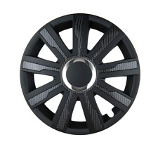 14 Inch Wheel Trim Set CARBON Black Set of 4 Univers Hub Caps Covers [MIRAG B]