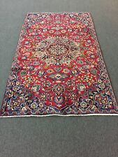 "On Sale Great Hand Knotted Persian Kashan Area Rug Floral Carpet 4x7,4'3""x7'4"""