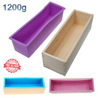 Silicone Soap Loaf Mold Wooden Box DIY Making Tool 1200g Toast Baking Cake Molds