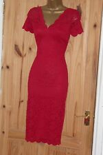Stretchy red vintage 40s 50s lace pencil wiggle evening cocktail dress size 10