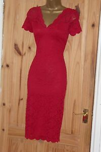 Stretchy red vintage 40s 50s lace pencil wiggle evening cocktail dress size 16