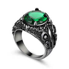 Claw flower Rings Size 7 Green Emerald Wedding Women's 10Kt Black Gold Filled