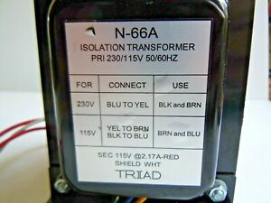 TRIAD N-66A  ISOLATION TRANSFORMER PRI 230/115VAC