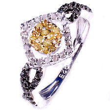 1.27ct RAW REAL WHITE & GOLDEN NATURAL DIAMOND .925 SILVER RING SIZE 8 see video