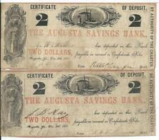 1861 Georgia Augusta Savings Bank Pair of $2 Pay in CSA $ train boats CD A964