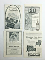 4 x 1923 Print Advertisements Advertising Kenilworth Cigarettes PD Scotch Whisky