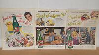Vintage 1940's Set of 3 Seven Up Magazine Ads