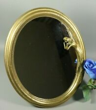 Vintage Antique Art Nouveau Style Maiden Brass Vanity Mirror Easel Table French