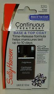1 Sally Hansen Continuous Treatment All Nail Type Base & Top Coat CLEAR 3210 NIP