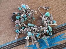 VINTAGE NAVAJO AND ZUNI TURQUOISE CHARM BRACELET - 32 CHARMS - 97.3 GRAMS
