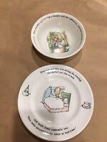 2-pc set PETER RABBIT Wedgwood bowl & plate c.1991 CHARMING