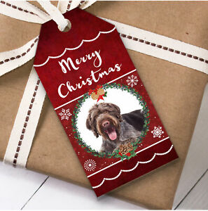 German Wirehaired Pointer Dog Christmas Gift Tags (Present Favor Labels)