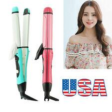 USA Stock 2 in 1 Curler Straightener Hot Hair Iron Curling Ceramic Wave Machine