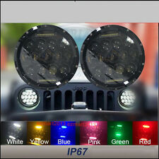 """2x75W 7"""" Round LED Off-Road Work Light For JEEP HUMMER High Low Beam replacement"""