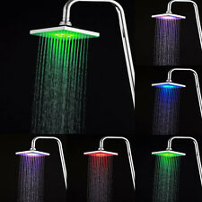 7 Colors LED Auto Changing Light Home Bathroom Rain Shower Square Head