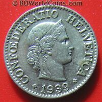 SWITZERLAND 1939 B 10 RAPPEN SWISS COLLECTABLE EUROPEAN WORLD COIN 19mm NICKEL