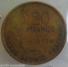 20 francs G Guiraud 1950 4 faucille : TB : pièce de monnaie française