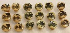 6 X Classical Cars PRINTED WOODEN BUTTON PUSH PINS 20mm HANDMADE NOVELTY