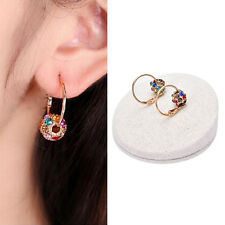 1 Pair Fashion Women Crystal Rhinestone Ear Stud Hoop Earrings Jewelry Gift MW