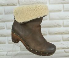 UGG Lynnea Womens Brown Leather Ankle Outdoor Heeled Boots Size 6.5 UK 39 EU