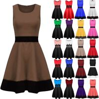 Womens Contrast Panel Franki Swing Dress Ladies Sleeveless Flared Skater Dress