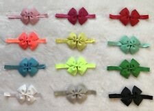 "12 Pcs 3.5"" Baby Toddler girls Foe elastic headband headwear Hair Bow -12 Colors"