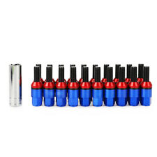 20pcs Blue Steel M12x1.5 Lug Bolts 45mm HEX 19mm Cone Seat Close End with Key