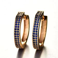 18ct Yellow Gold Filled Blue Sapphire Hoop Earrings Women's